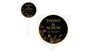 Flowers On Black Wedding Personalised Lollipops