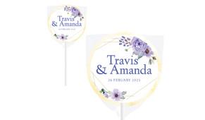 Violets On Gold Frame Wedding Personalised Lollipops