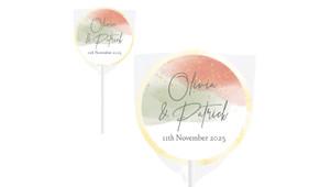 Sage And Blush Confetti Wedding Personalised Lollipops