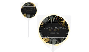 Contemporary Palms Wedding Personalised Lollipops