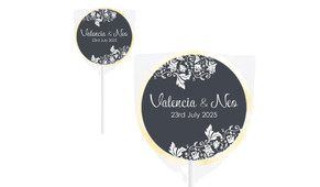 Classic Grey Floral Wedding Personalised Lollipops