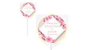 Diamond On Cherry Blossom Wedding Personalised Lollipops