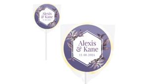 Hexagon On Aubergine Wedding Personalised Lollipops