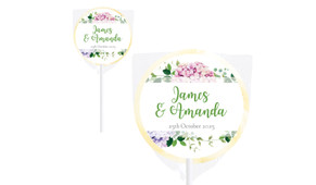 Hydrangea Wedding Personalised Lollipops