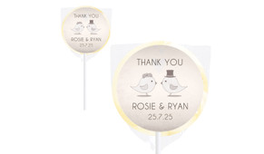 Sepia Love Birds Wedding Personalised Lollipops