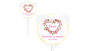 Heart Shaped Floral Wedding Personalised Lollipops