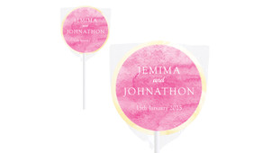 Pink Ombre Wedding Personalised Lollipops