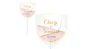 Pink And Marble Wedding Personalised Lollipops