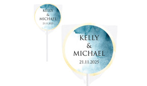 Blue Shade Wedding Personalised Lollipops