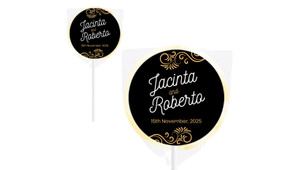 Retro Ornaments Wedding Personalised Lollipops