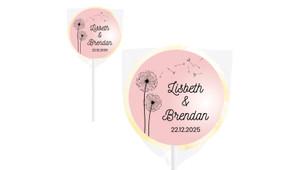 Floating Dandelion Wedding Personalised Lollipops