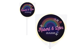 Neon Rainbow Wedding Personalised Lollipops