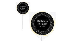 Silver Star Confetti Wedding Personalised Lollipops