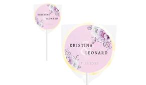 Vintage Pink Wedding Personalised Lollipops