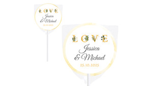 L-O-V-E Flowers Wedding Personalised Lollipops