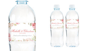 Classic Rose Border Wedding Water Bottle Stickers (Set of 6)