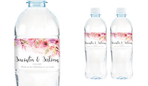 Cascading Flowers Wedding Water Bottle Stickers (Set of 5)