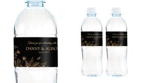 Flowers On Black Wedding Water Bottle Stickers (Set of 6)