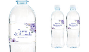 Violets On Gold Frame Wedding Water Bottle Stickers (Set of 5)