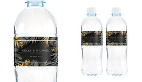 Contemporary Palms Wedding Water Bottle Stickers (Set of 5)