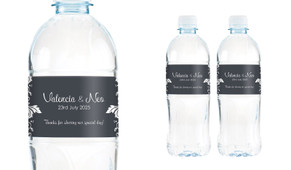 Classic Grey Floral Wedding Water Bottle Stickers (Set of 6)