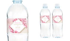 Diamond On Cherry Blossom Wedding Water Bottle Stickers (Set of 5)