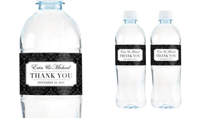 Timeless Damask Wedding Water Bottle Stickers (Set of 5)