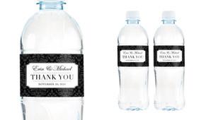 Timeless Damask Wedding Water Bottle Stickers (Set of 6)