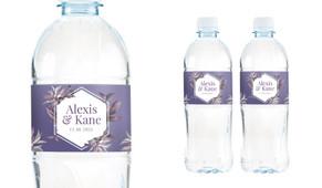 Hexagon On Aubergine Wedding Water Bottle Stickers (Set of 5)