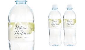 Misty Eucalypt Wedding Water Bottle Stickers (Set of 5)