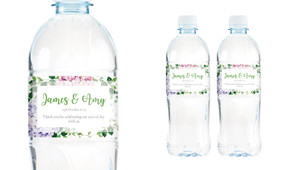 Hydrangea Wedding Water Bottle Stickers (Set of 5)