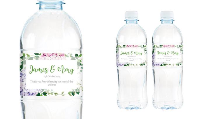 Hydrangea Wedding Water Bottle Stickers (Set of 5)