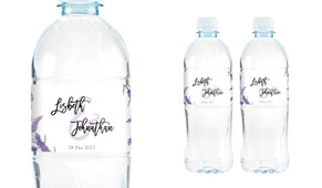 Lavender Wedding Water Bottle Stickers (Set of 6)