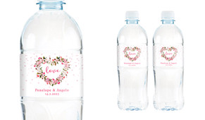 Heart Shaped Floral Wedding Water Bottle Stickers (Set of 5)