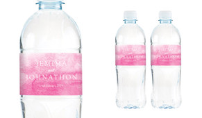 Pink Ombre Wedding Water Bottle Stickers (Set of 5)