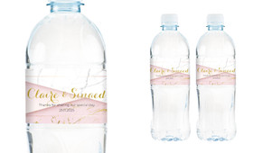 Pink And Marble Wedding Water Bottle Stickers (Set of 5)