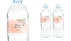 Gold Rings On Peach Wedding Water Bottle Stickers (Set of 5)
