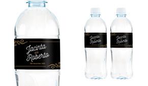 Retro Ornaments Wedding Water Bottle Stickers (Set of 5)