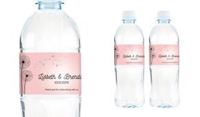 Floating Dandelion Wedding Water Bottle Stickers (Set of 5)