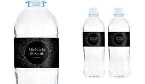 Silver Star Confetti Wedding Water Bottle Stickers (Set of 5)