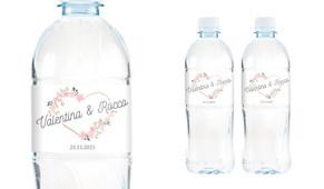 Heart Frame Wedding Water Bottle Stickers (Set of 5)