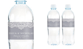 Vintage Lace Wedding Water Bottle Stickers (Set of 6)