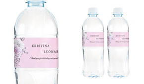 Vintage Pink Wedding Water Bottle Stickers (Set of 5)