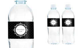 Baroque Wedding Water Bottle Stickers (Set of 5)