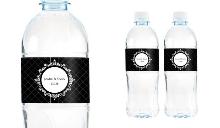 Baroque Wedding Water Bottle Stickers (Set of 6)