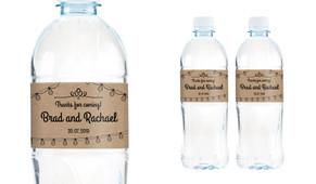 Bunting On Kraft Wedding Water Bottle Stickers (Set of 5)