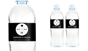 Date Circle Wedding Water Bottle Stickers (Set of 5)