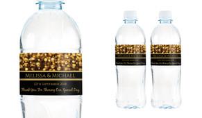 Gold Bokeh Wedding Water Bottle Stickers (Set of 5)