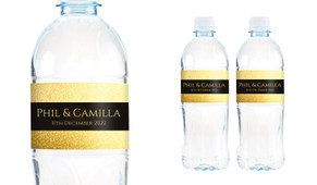 Solid Gold Wedding Water Bottle Stickers (Set of 5)