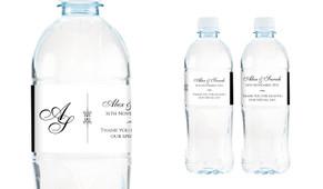 Initials Wedding Water Bottle Stickers (Set of 6)